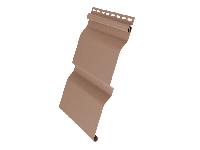 Фото винилового сайдинга для наружной обшивки фронтона крыши, стен дома, цвет - темно бежевый