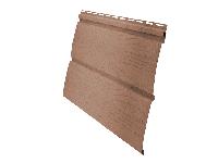 Фото винилового сайдинга для отделки наружных стен дома, цвет темно бежевый