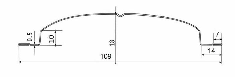 Фото металлического штакетника Кантри с основными размерами