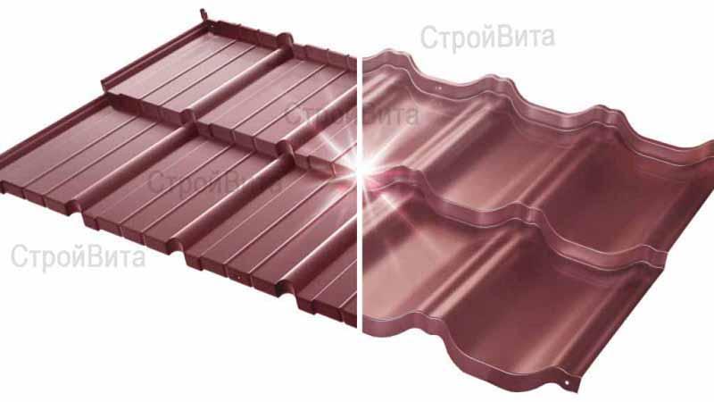 Польская модульная металлочерепица «Venecja» («Будмат»), цвет на фото S-pure темно-вишневый