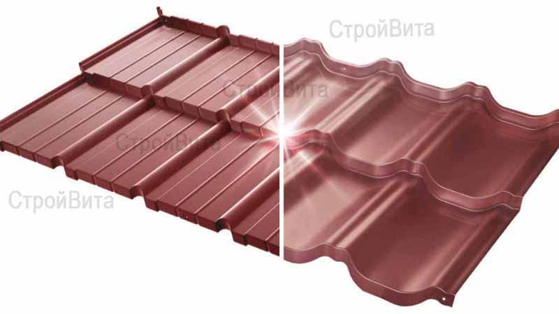 Польская модульная металлочерепица «Murano», «Venecja» («Budmat»), цвет на фото светло-вишневый P311B