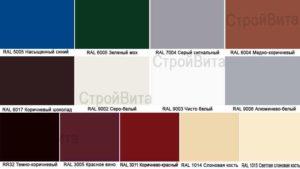 Фото образцов цветов каталога RAL профлиста с декоративным покрытием Норман