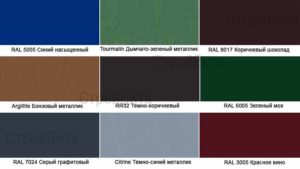Доступные цвета каталога RAL металлопрофиля