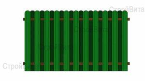 Забор из металлического штакетника с 2-ух сторонним заполнением секций
