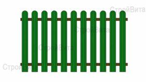 Забор из металлоштакетника с односторонним заполнением секции