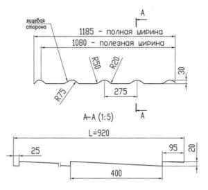 Размеры листа металлочерепицы для крыши Alter