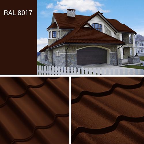 Металлочерепица шоколадно коричневого цвета (ral 8017), фото крыши