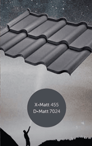 Металлочерепица Феррара с полимерным покрытием X-Matt и D-Matt, цвет Ral 7024