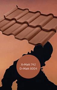 Тип покрытия металлочерепицы Ferrara (BudMat) x-mat, d-mat 8004