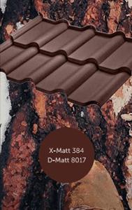 Тип покрытия металлочерепицы Ferrara (BudMat) x-mat, d-mat, цвет по каталогу Рал 8017