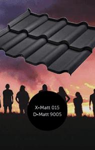 Тип покрытия металлочерепицы Ferrara (BudMat) x-mat, d-mat, черный цвет 9005 модуля