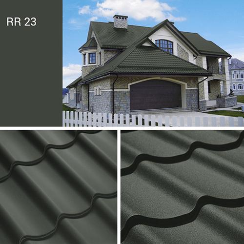 Серый цвет металлочерепицы rr 23, фото крыши дома