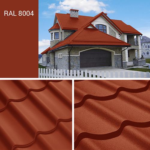 Фото крыши дома с медно коричневой металлочерепицей, цвет по каталогу RAL 8004