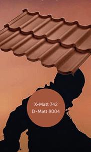 Металлочерепица оцинкованная с полимерным покрытием X-Matt, D-Matt, цвет ral 8004