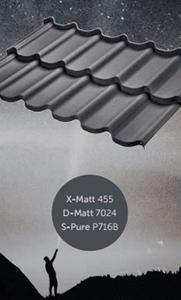 Металлочерепица оцинкованная с полимерным покрытием X-Matt, D-Matt, S-Pure, цвет ral 7024