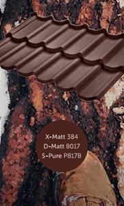 Металлочерепица Bella, Rialto Budmat оцинкованная с полимерным покрытием X-Matt, D-Matt, S-Pure, цвет ral 8017