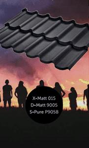 Металлочерепица Белла, Rialto БудМат оцинкованная с полимерным покрытием X-Matt, D-Matt, S-Pure, цвет рал 9005