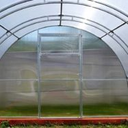 Фото теплицы из листового поликарбоната с каркасом с двойными сварными дугами Тандем