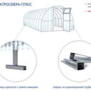Схема оцинкованного каркаса с Т-образными ножками для теплицы с поликарбонатным покрытием Агросфера, Плюс