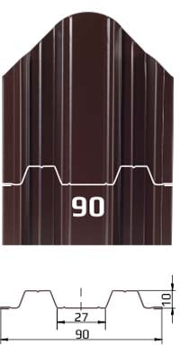 Фото размеров и формы металлического штакетника Константа для забора