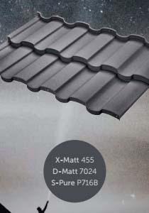 Металлочерепица Риалто с полимерным покрытием X-Matt, D-Matt и S-Pure, цвет Ral 7024