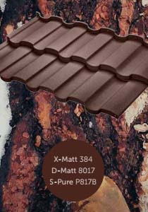 Металлочерепица Риалто с полимерным покрытием X-Matt, D-Matt и S-Pure, цвет Ral 8017