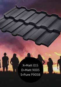 Металлочерепица Риалто с полимерным покрытием X-Matt, D-Matt и S-Pure, цвет Ral 9005