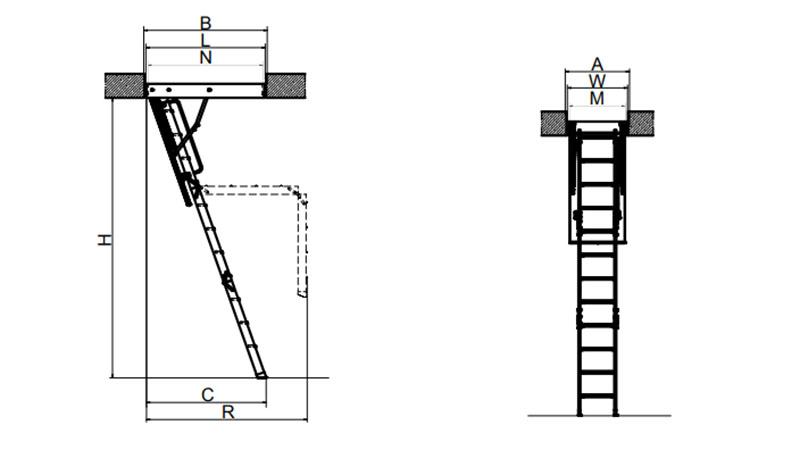 Размеры чердачной лестницы Fakro