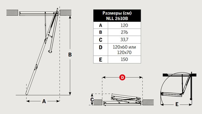Габаритные размеры лестницы Velta NLL 2610 Базовая