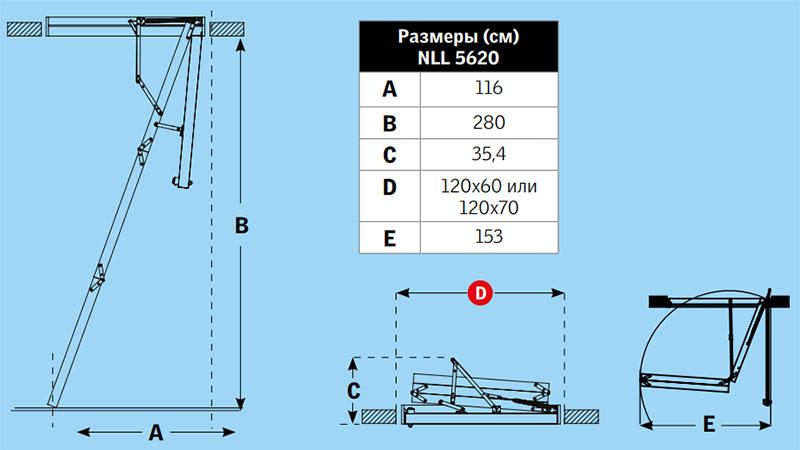 Габаритные размеры лестницы Velta NLL 5620 Комфорт
