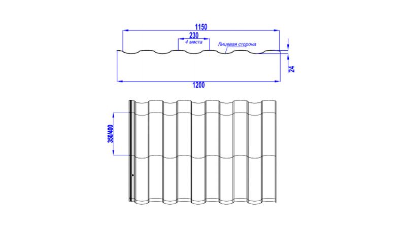 Размеры профиля МОНТЕКРИСТО Металл Профиль