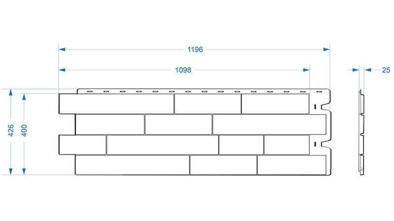 Размеры фасадной панели Деке Stein