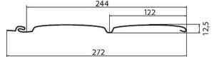 Чертеж с размерами панели сайдинга блок-хаус от Гранд Лайн